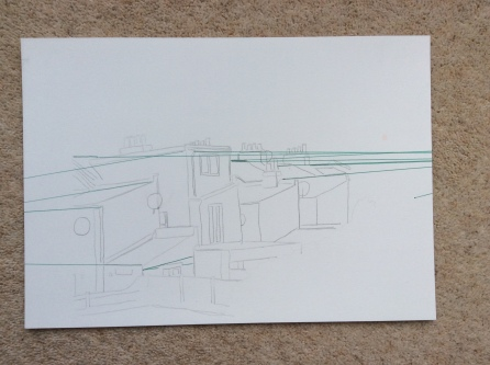 Initial drawing and perspective lines